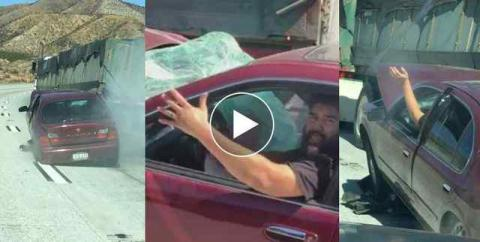 Truck drags car in Cajon Pass, won't stop, and it's all on video