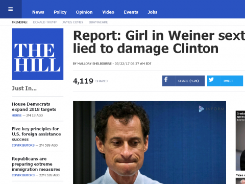 Report: Girl in Weiner sexting case lied to damage Clinton | TheHill